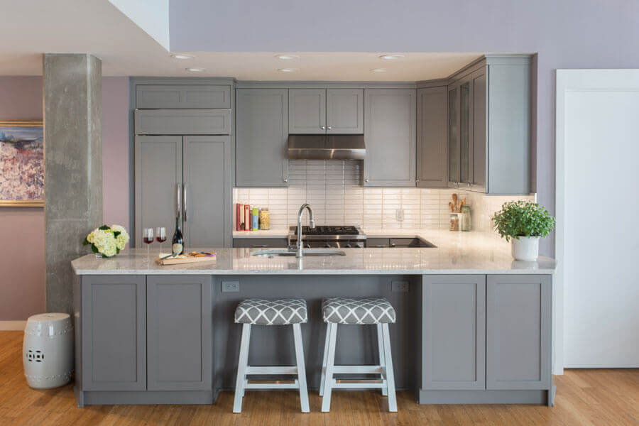Gray Customized kitchen cabinets
