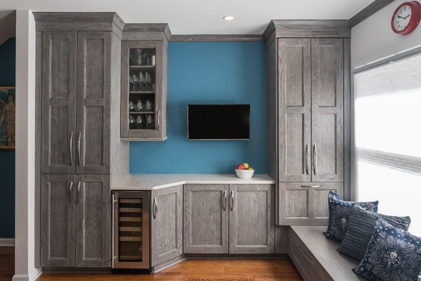 How are custom cabinets made? Teknika illustrates with these grey custom cabinets